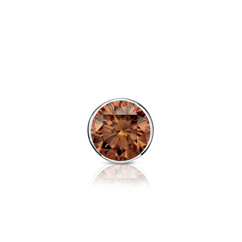 1//8-1ct,Brown,SI2-I1 Screw-Back 18k White Gold Bezel-set Round Brown Diamond Men SINGLE STUD Earring