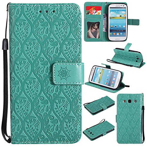 Galaxy S3 Wallet Case,Galaxy S3 Flower Case,HAOTP Mandala Rattan Flower Embossed PU Leather Magnetic Flip Card Holders & Hand Strap Purse Case for Samsung Galaxy S3 / I9300 Green ()