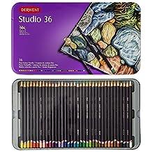 Derwent Studio Colored Pencils, 3.4mm Core, Metal Tin, 36 Count (32198) by Derwent