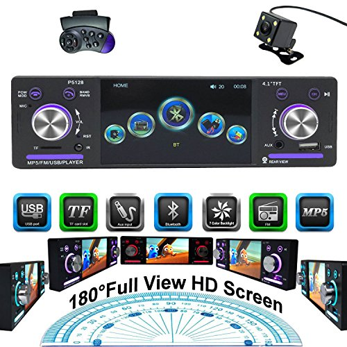 CARED Car Stereo MP5 Player,Single Din with Bluetooth,Car Headunit Receiver,Backup Camera/MP3/USB/SD/AUX in/Wireless Remote