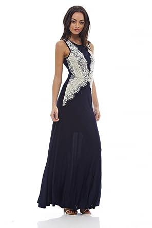 9968d972e1 Amazon.com  AX Paris Women s Slinky Lace Maxi Dress  Clothing