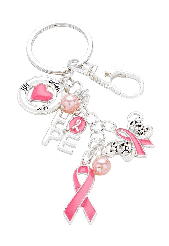 "Rosemarie Collections Women's Pink Ribbon ""Hope"" Keychain Handbag Charm"