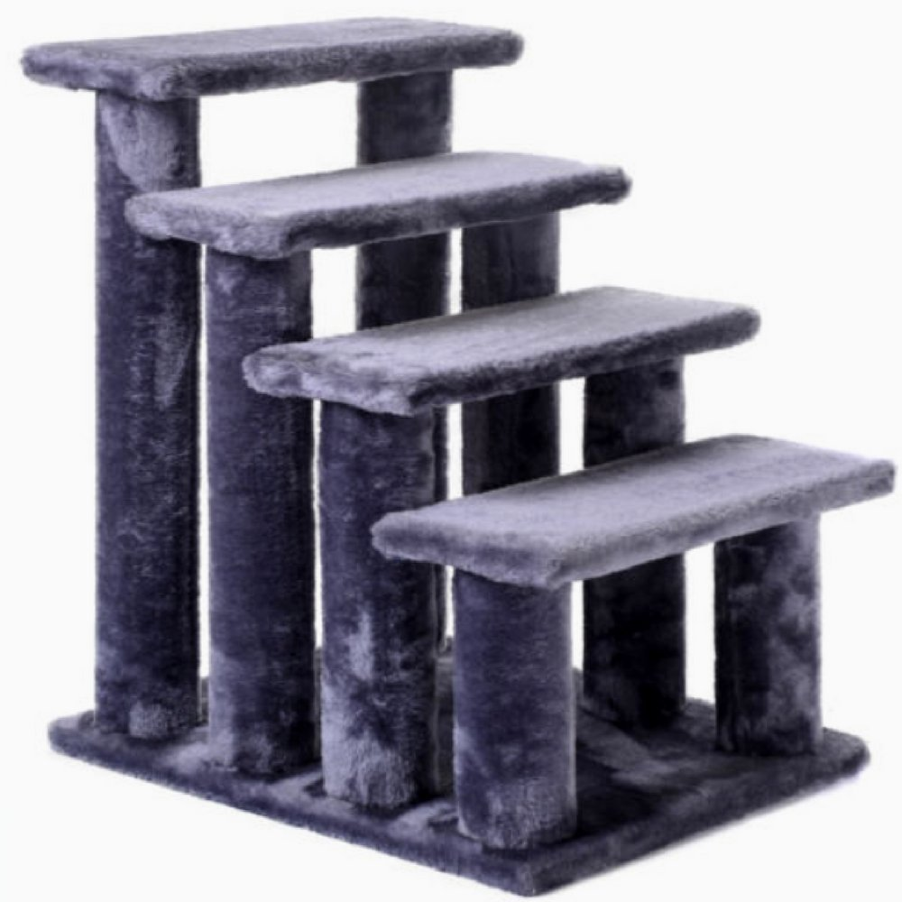 Pet Ramp 4 Step 21'' Stairway Perch Scratcher Stairs Dog Cat Ladder Gray Arthritic Recovering Pets Exercise Relax Fun-MegaTrade Prime 60%OFF
