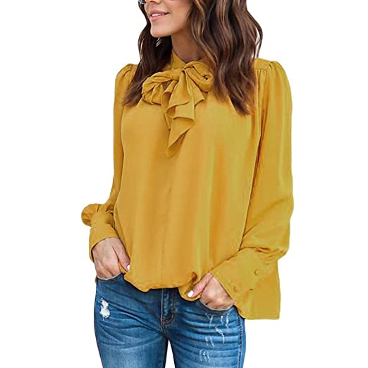 0a0bdc0e13e Image Unavailable. Image not available for. Color  Kangma Women Summer  Spring Casual Chiffon Long Sleeve Solid Bow Tops Business Shirt Blouse  Yellow