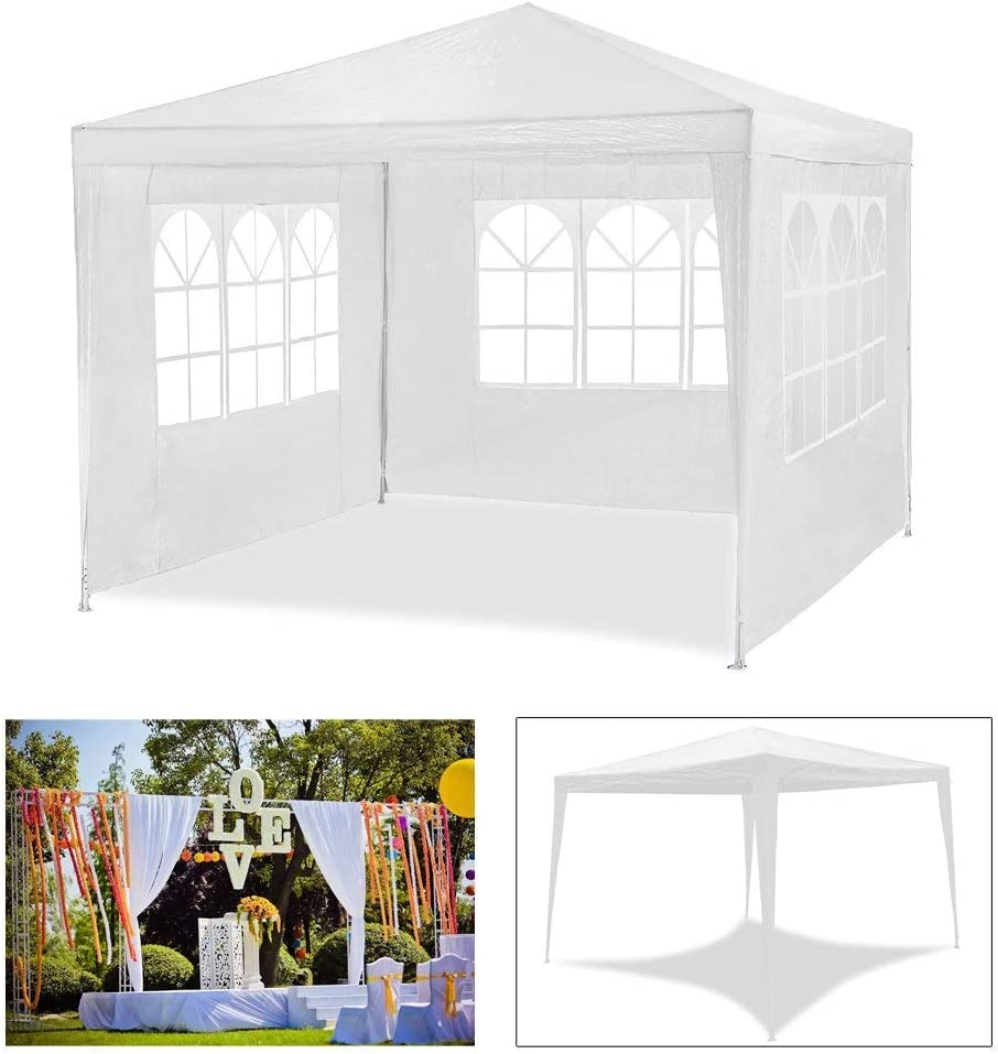 Carpa de jardín para fiestas impermeable de 3 x 3 m de HG®, carpa para eventos, camping o asociaciones de alta calidad con tubos de acero, Weiß