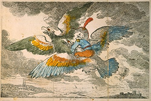 Baron M_Nchhausen/N(1720-1797). Baron M�nchhausen Flying Around The World On The Back Of An Eagle. Engraving From An Early...