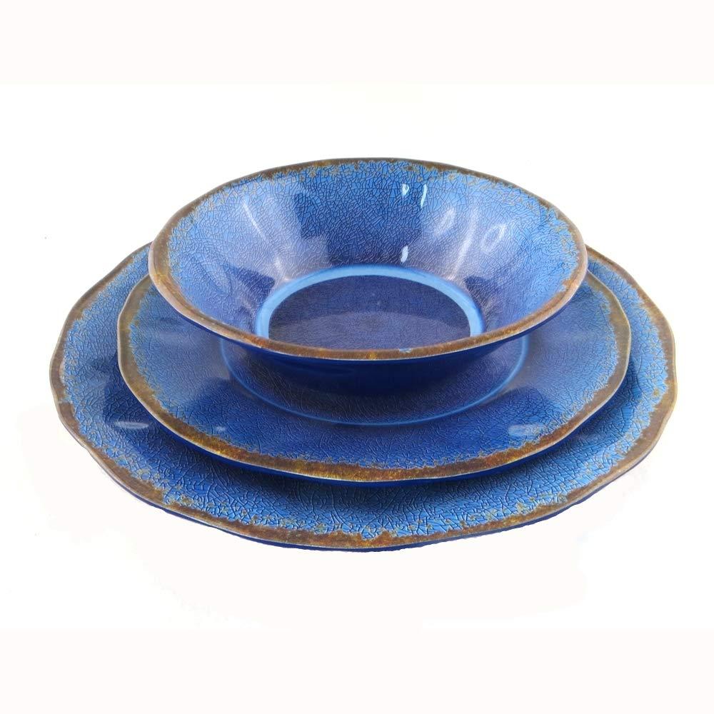 12 Pcs Melamine Indoor Outdoor Dinnerware Set Service For 4 Round Pattern with Break-Resistant(four colors) (Dark blue)