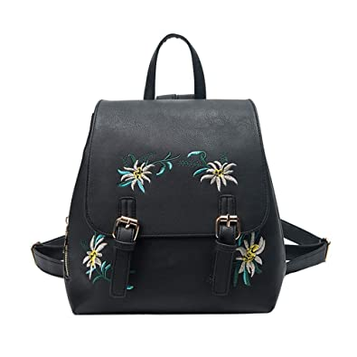 5ceab8e976a8 Embroidery Flower Ethnic Style Fashion Casual Color Female Backpack Bucket Bag  Softback  Amazon.co.uk  Shoes   Bags