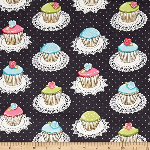 Michael Miller 0477747 Flannel Quaint Cupcakes Glitter Metallic Gray Fabric by The Yard