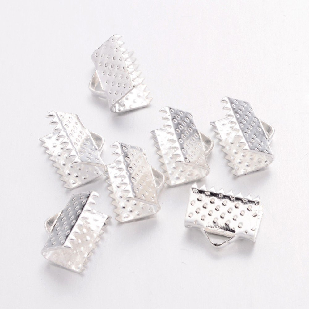 Pandahall 50pcs 25mm Silver Satin Velvet Ribbon Crimp End Leather Faux Suede Cord Clamps Ends with 1mm Hole