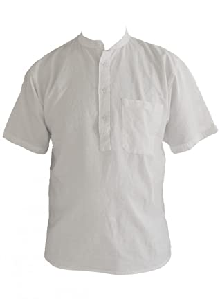 blanc à manches courtes en coton papy chemise sans col taille petite à 2XL Small nnMrL
