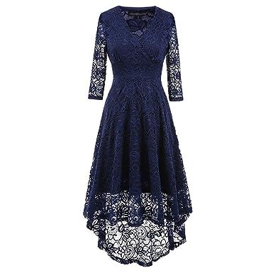 YiLianDa Vintage SpitzenKleid Mit 1/2-Ärmel Frack Vokuhila Kleid ...