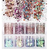 8 Boxes Nail Glitter Chunky Sequins Iridescent Flakes Ultra-thin Tips Colorful Mixed Paillette For Face Body Hair Nail Art by Beross