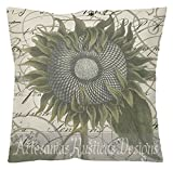 French Botanical Pillow Cotton Canvas Burlap Vintage Green Sunflower on a Vintage French Script and Stamps Throw Pillow Cover Euro Sham