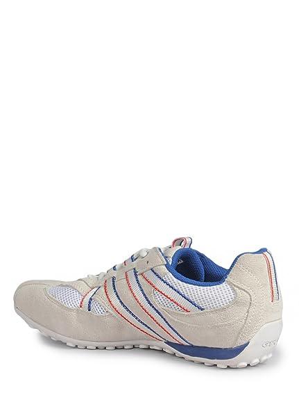 Geox Snake S Schuhe in weiß blau Herren Sneakers Velourleder + Mesh U2207S NEU