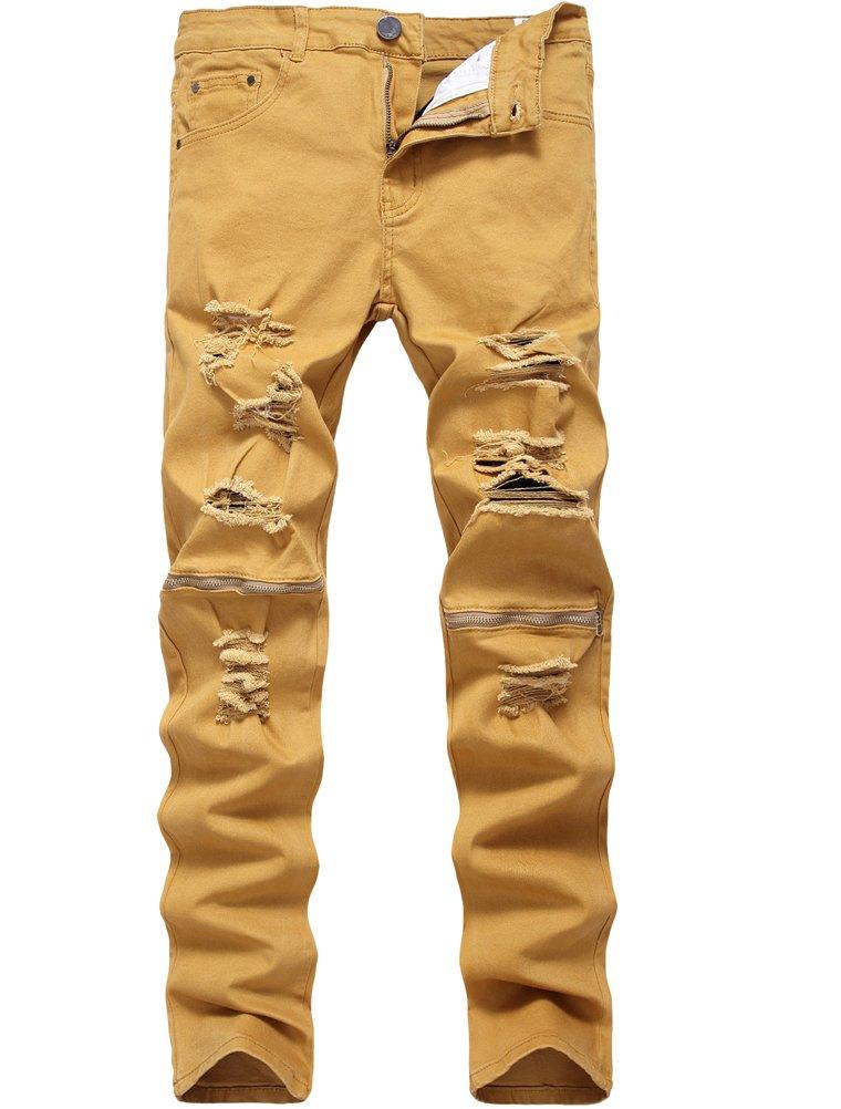 Lavnis Men's Slim Fit Destroyed Jeans with Holes Pencil Pants Slim Zipper Jeans with Holes Style 1 Khaki-34