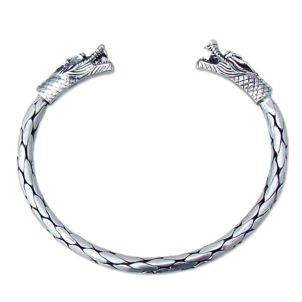 NOVICA .925 Sterling Silver Cuff Bracelet, 6.0'', 'Power of Dragons'