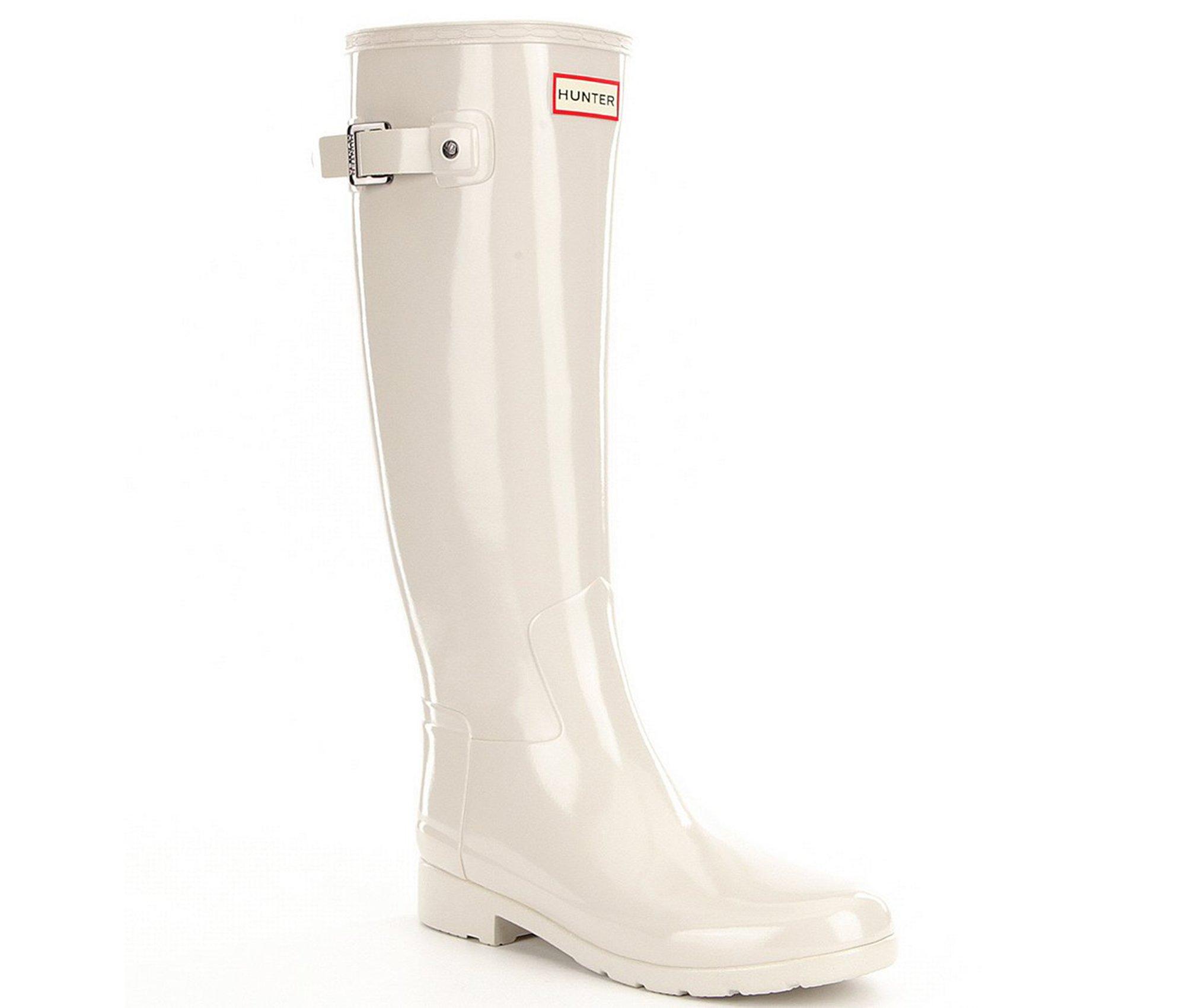 Hunter Womens Original Refined Gloss Wellingtons Snow Winter Rain Boots, Parchment, 5 B(M) US
