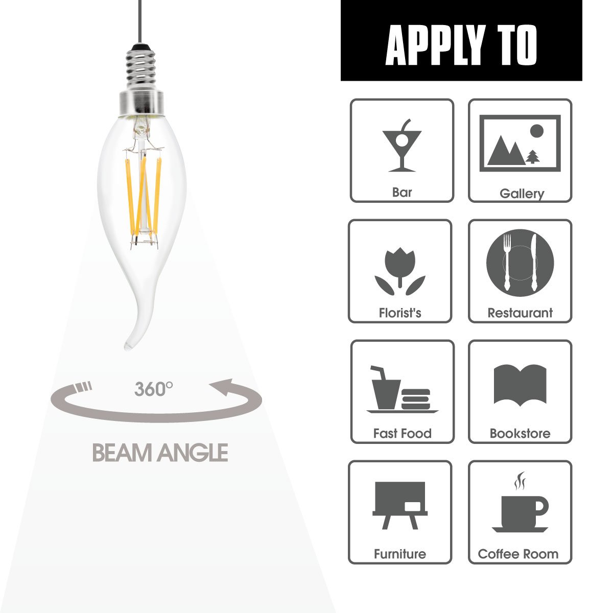 6-Pack LED Filament Bulb 40W Equivalent with 400LM Brightness B11