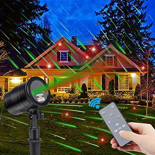 Waterproof Dynamic Christmas Laser Light Projector with RF Remote,Aholic Green Dynamic Meteor Shower and Red Star Laser Light Projector Outdoor Landscape Projector for Christmas,Party,Patio,Lawn,Yard, [並行輸入品] B07R8PVN8T