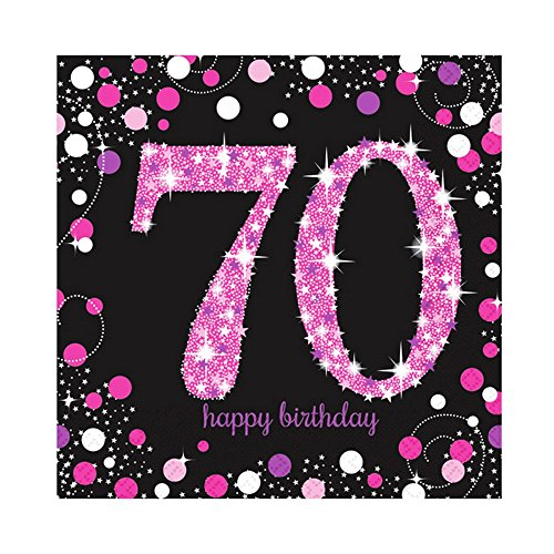 Amscan Sparkling Pink Celebration 70th Birthday Party Napkins (Pack of 16) (One Size) (Pink)