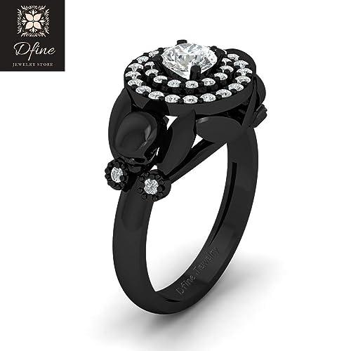 0345ae4fa7bea0 Amazon.com: Classic Flower Petal Art Nouveau Gothic Skull Engagement Ring  Womens Halo Diamond Skull Wedding Ring: Handmade