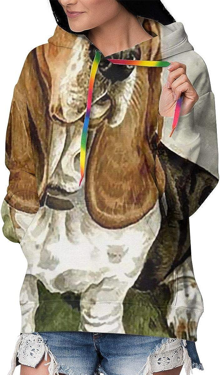 Basset Hound Womens Long Sleeve Pullover Hooded Sweatshirt Top Hoodie with Fleece Lining