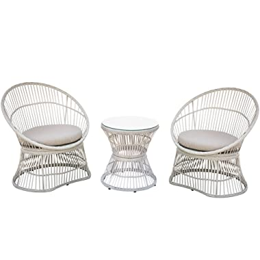 PatioPost Patio Furniture 3 Pcs PE Wicker Outdoor Garden Bistro Set with Table/Cushions,Seats 2