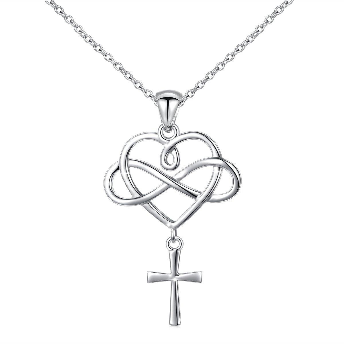 LINLIN FINE JEWELRY Cross Necklace 925 Sterling Silver Infinity Loving Heart Criss Cross Pendant Necklace for Women, 18 inch