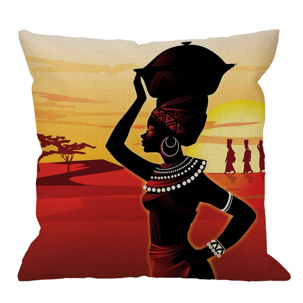 HGOD DESIGNS Throw Pillow Case African Women Cotton Linen Square Cushion Cover Standard Pillowcase for Men Women Home Decorative Sofa Armchair Bedroom Livingroom 18 x 18 inch