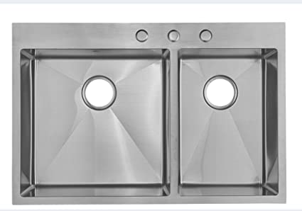 Starstar 33 X 22 Top Mount 60/40 Double Bowl Kitchen Sink Drop