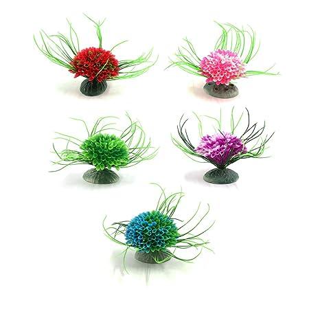 sourcingmap Planta De Acuario 5Pcs Plástico Mini Flor del Acuario Ornamento Decorativo Paisaje Acuático