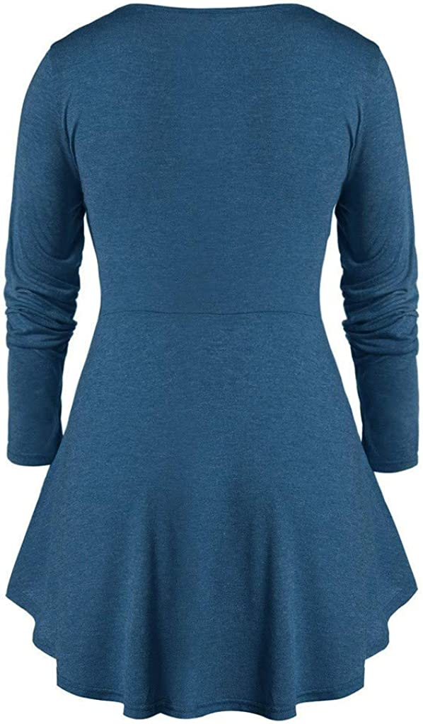 RUIVE Plus Size Tops for Women/'s Casual Marled Sweetheart Collar Pleated Tunic Flare Blouse Ladies Basic Sweatshirt