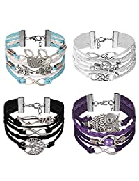 Aroncent Girls Womens Infinity Bracelet Velvet Leather Wrap Rope Love 4 PCS 7.5 Inches