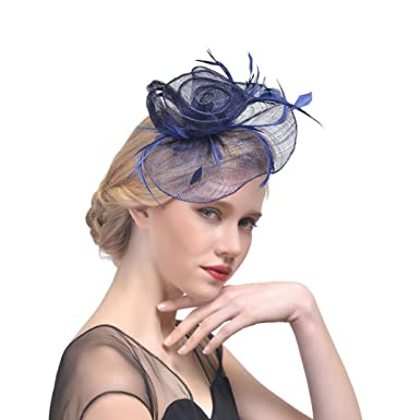 d8a660eeb28f3 Bovake Wedding Fascinator Pillbox Tea Party Hats ☆ Flower Penny Mesh Hat  Ribbons And Feather Veils