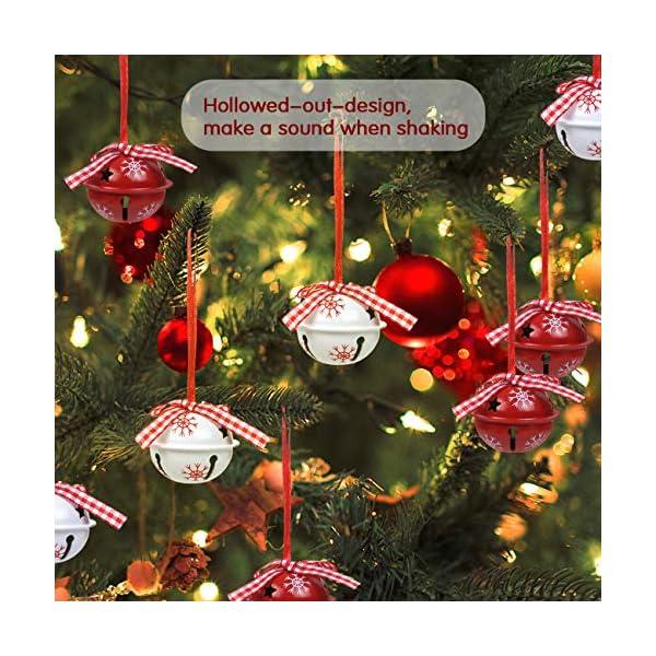 LEMESO 12 pz Campane Campanellini di Natale Decorazione per Albero Natalizio Ornamenti Abbellimenti Festivi Festa Metallo per Casa Rosso Bianco Fiocchi di Neve 3 spesavip
