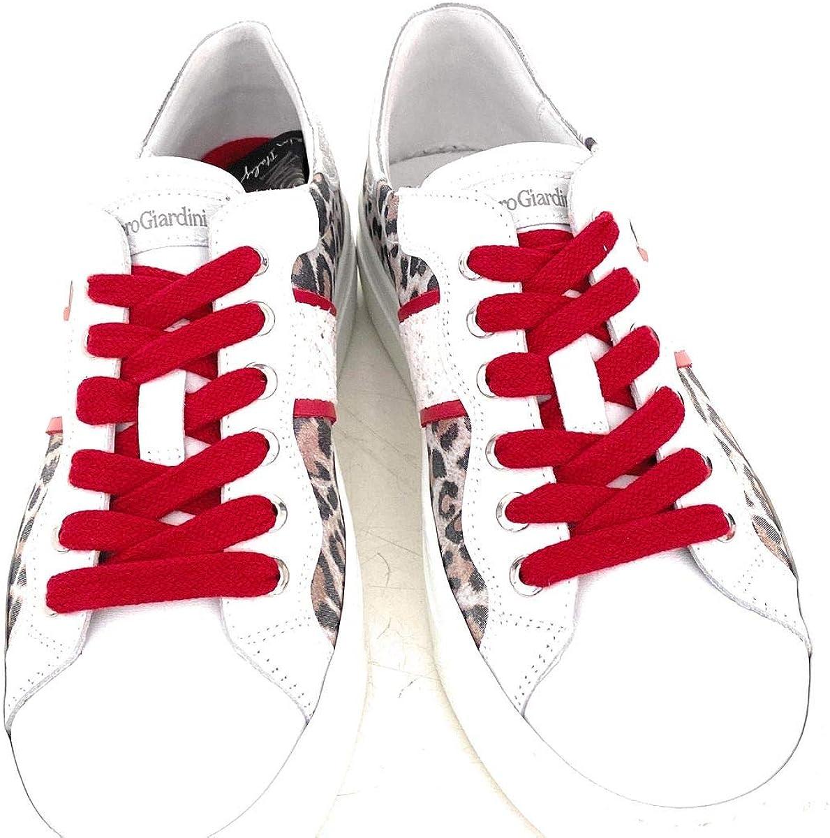 Nero Giardini Sneaker blanc pailleté argent, fermeture à lacets Blanc