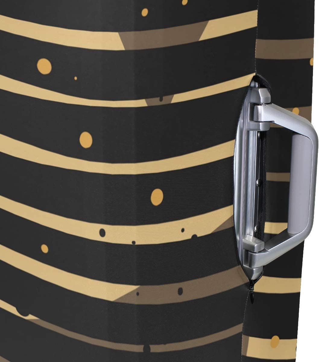 Travel Luggage Cover Cool Black Gold Stripes Dots Suitcase Protector