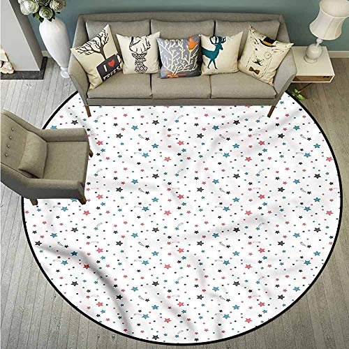 Non-Slip Round Rugs,Star,Abstract Heavenly Bodies,Anti-Static, Water-Repellent Rugs,3'3