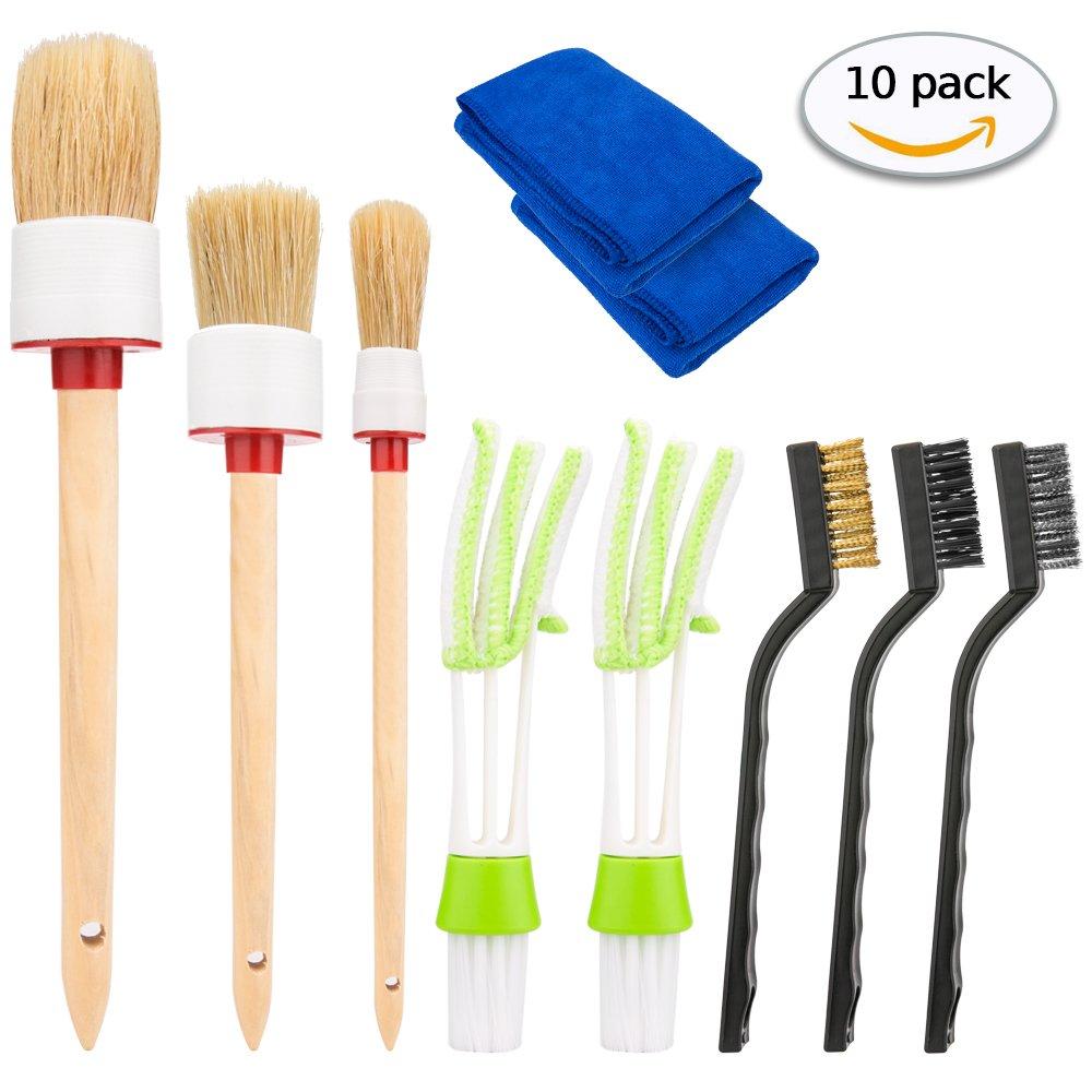 Hohoto Auto Detailing Brush Set 10 Pcs, Car Cleaning Tools Kit Including 3 PCS Car Detailing Brush 2 PCS Automotive Air Conditioner Cleaner, 3 Pcs Wire Brush 2 Pcs Car Wash Clothes (10)