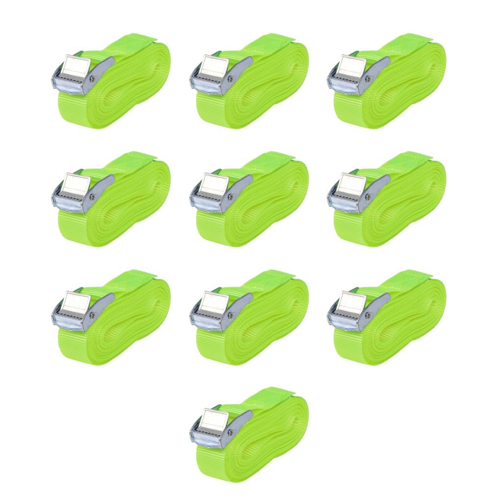 vidaXL 10x Correas de Sujeció n 0, 25 Toneladad 5 m x 25 mm Verde Fluorescente