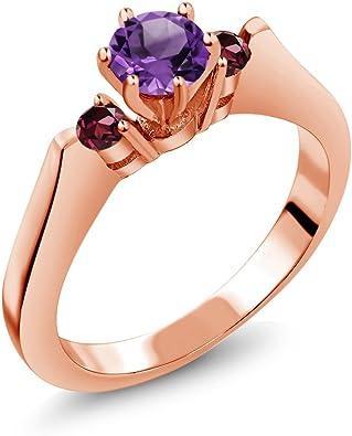 100/% NATURAL 5MM PINK AMETHYST FLOWER DESIGN ROSE GOLD /& SILVER 925 RING SIZE 8