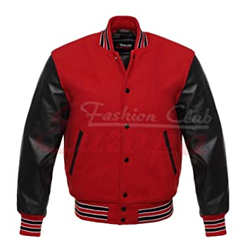 Fashion Club MENS VARSITY REAL LEATHER/WOOL LETTERMAN JACKET RED W/BLACK LEATHER SLEEVES (4XL Regular)