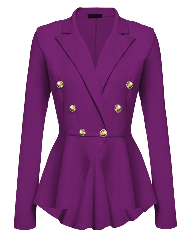Cekaso Women's Peplum Blazer One Button Crop Frill Ruffle Hem High Low Work Blazer, Purple, USsize XL=Tagsize XXL