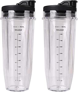 2 Pack 32 oz Large Cups with Sip Seal Lids 950ML Measuring Scale Cup Mug Replacement Blender Cups Compatible with Nutri Ninja BL480 BL481 BL482 BL490 BL640 BL680 Auto-iQ 1000w Series and Duo Blenders