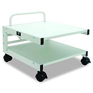 Balt Low Laser Printer Stand, 27501,14''H x 17''W x 17''D, Brushed silver steel frame, Gray laminate shelves