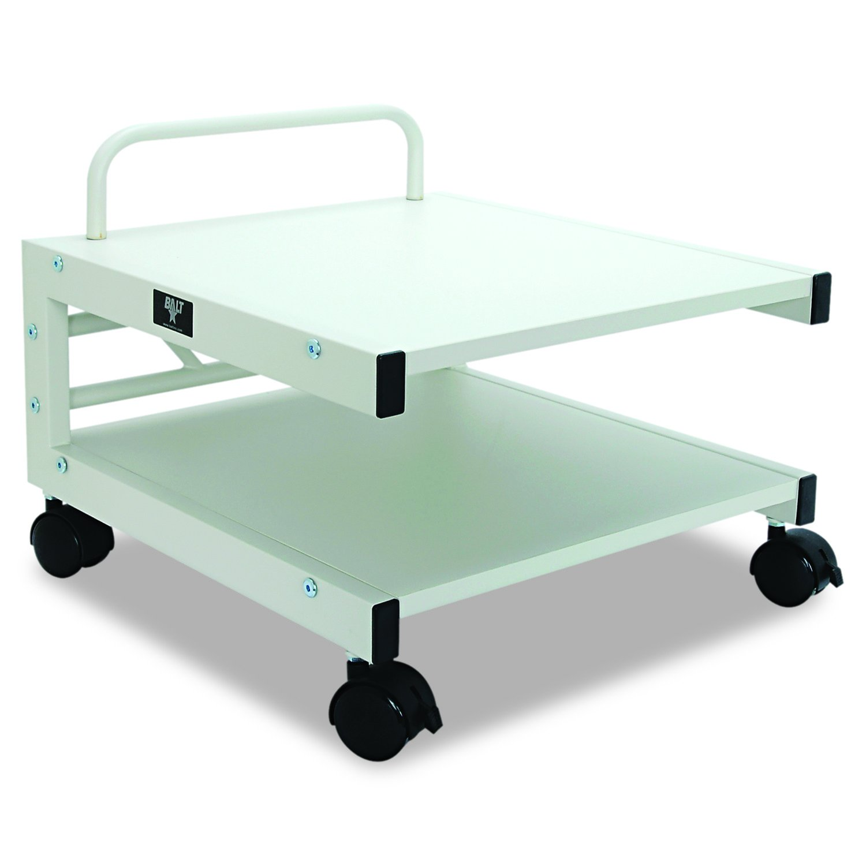 Balt Low Laser Printer Stand, 27501, 14''H x 17''W x 17''D, Brushed silver steel frame, Gray laminate shelves