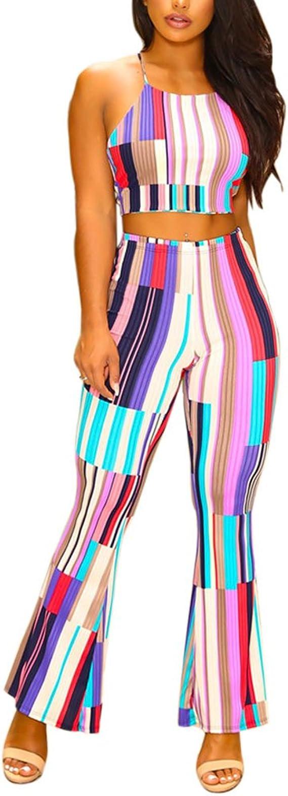 HitZoom Womens Casual Off Shoulder Rib Knit Crop Top and Pants 2 Piece Set