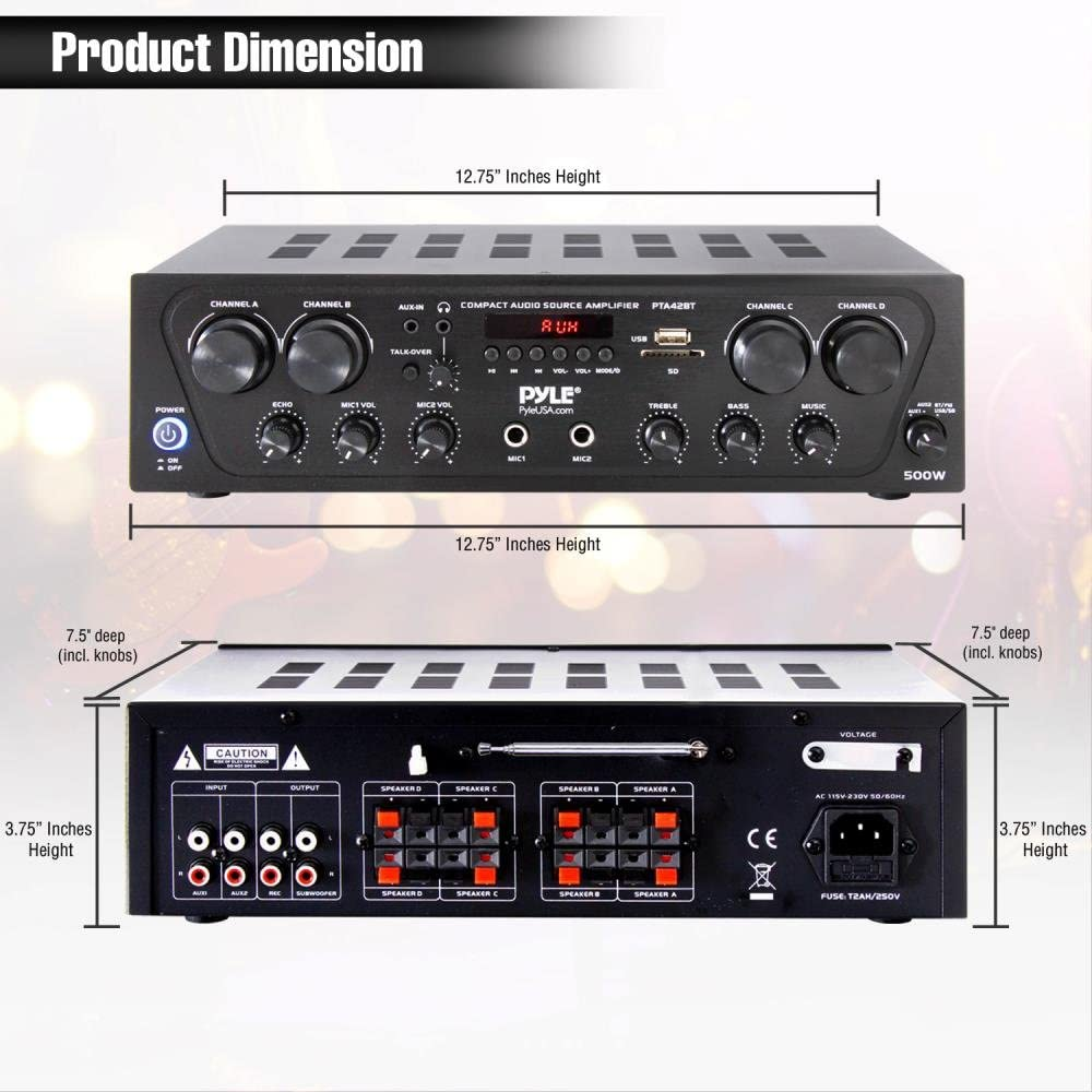 Talkover for PA Great for Home Speaker System Pyle Wireless Karaoke Bluetooth Stereo Receiver 4 Channel Power Amplifier w// USB PTA42BT 2 Microphone Input w// Echo Headphone