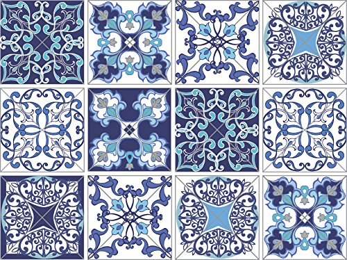 Azure Blue Ceramic (12 PC Pack Tile Stickers Home & Kitchen Self Adhesive Tile Decals Decor 6x6 Inch DIY Wall Sticker (Talavera Azure Blue))